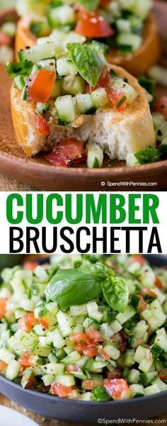 Cucumber Bruschetta is a fun twist on a traditional favorite! Fresh crisp cucumbers tossed with juicy tomatoes and combination of garlic, basil and olive oil make the perfect topper for a crisp garlicky toasted baguette. This quick, easy recipe is perfect as a side dish, an appetizer or simply as a snack.