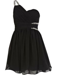 A-line One Shoulder Short/Mini Chiffon Black Prom Dress With Beading