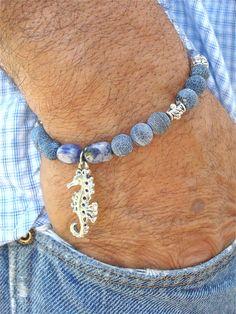 Men's Bracelet with Semi Precious Stones  Sodalite by tocijewelry, $38.00