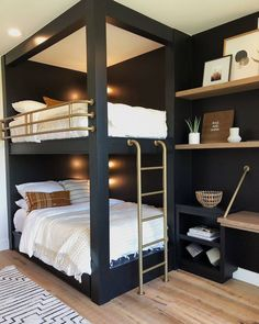 Modern Bedroom Design Ideas,Stunning Bedroom Decor Ideas How stunning is this bunk bed design? Via Benjamin Moore Queen Bunk Beds, Bunk Bed Rooms, Bunk Beds Built In, Cool Bunk Beds, Modern Bunk Beds, Bedrooms, Painted Bunk Beds, Cheap Bunk Beds, Corner Bunk Beds