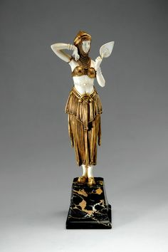 Demetre H. Chiparus (Romanian 1886 - 1947), Paris, Sculpture, Cold-painted, Patinated Bronze, Ivory and Onyx Base.