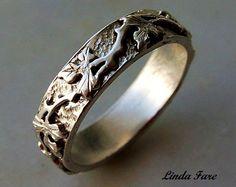 Sterling Silver handcrafted vine leaf ring wedding by lfjewel31, $200.00