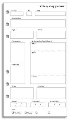 A request from Rhomany today. She wanted a form to help her plan and manage her various videos. You can download this insert in a ch...