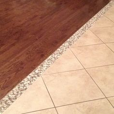 Our hardwood/tile transition! Mosaic tile ;-) I am in LOVE!!!!