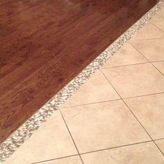 Our hardwood/tile transition! Mosaic tile ;-) I am in LOVE!!!!