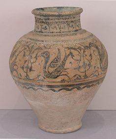 Vase Date: 12th–13th century Geography: Syria, Raqqa Culture: Islamic Medium: Stonepaste; underglaze painted