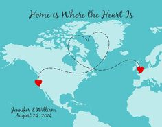 Personalized Map Long Distance USA Map With Heart Distance Means