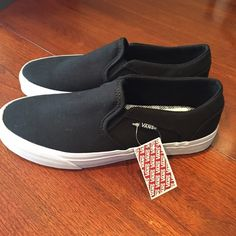 Vans NWT canvas slip-ons Vans NWT canvas slip-ons. No box NWT. Black canvas with white sole. No trades. Vans Shoes Sneakers