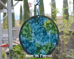 Stained glass earth made with tissue paper