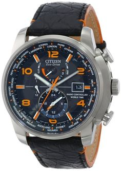 Citizen Men's AT9010-28F World Time A-T Limited Edition Eco-Drive Black Leather Strap Watch