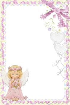 Cute Soft Pink PNG Frame with Angel