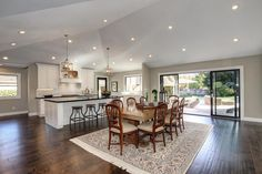 Dining area enjoys a pastoral view and easy access to the home's backyard.