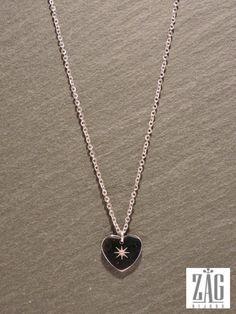 Collier ZAG coeur SN1686 acier blanc