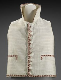 Early 19th century, America - Waistcoat by Lot Robbins - Printed plain weave cotton with supplementary warp or weft stripe; plain weave linen (lining and back); bone (buttons)