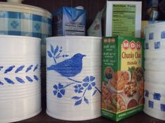 Blue country French kitchen organizers from recycled tin Cans