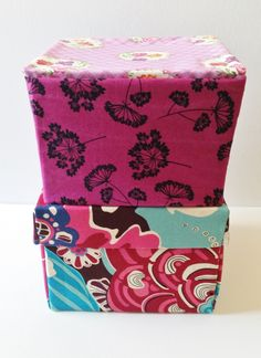 Mad For Fabric - DIY Fabric Box With Attached Lid Stacked