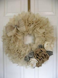Cream Burlap Wreath with Linen Roses. $42.00, via Etsy.