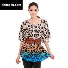 Womens Leopard Pattern Loose  Round Collar Short Sleeve Tshirt