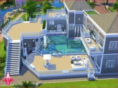 Welcome to Waterfall Paradise Estate! You want to purchase this mansion for your sims! This is a gorgeous home that features an array of balconies overlooking a beautiful pool with waterfall. Sims 4 Modern House, Sims 4 House Design, Sims 4 House Plans, Sims 4 House Building, Lotes The Sims 4, Sims Cc, Sims Freeplay Houses, Muebles Sims 4 Cc, Sims Free Play