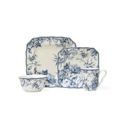 222 Fifth Dinnerware, Adelaide 16 Piece Set - Casual Dinnerware - Dining & Entertaining - Macy's Blue And White Dinnerware, Blue Dinnerware, Porcelain Dinnerware, Fine China Dinnerware, Blue And White China, Blue China, 222 Fifth Dinnerware, Vase Deco, Blue Dishes