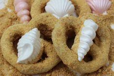 Seashore Sandy Beach Mermaid Cookies-Chocolate Pretzels With White Chocolate Seashells. TheIcedSugarCookie.com Taylors Sweet Revenge