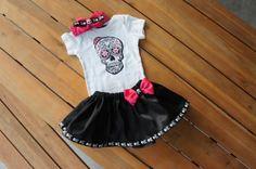 Olivia Paige Little sugar skull rockabilly punk rock outfit/