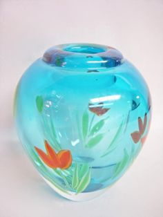 The Vintage Village - View Classified - Studio ART GLASS VASE Turquoise Blue ***ALSO SEE Vintage Jewelry at: http://MyClassicJewelry.com/shop