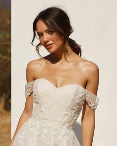 Stunning Grecian and Boho vibes #offtheshoulderweddingdress #RebeccaIngram #bohoweddingdress #weddingdress #weddinginspiration #weddinginspo #wedspo Boho Wedding Dress, One Shoulder Wedding Dress, Bridal Gowns, Wedding Gowns, Chantilly Lace, Princess Wedding, Beaded Lace, Wedding Inspiration, Glamour