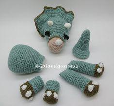 Crochet Dinosaur Patterns, Crochet Doll Pattern, Crochet Patterns Amigurumi, Crochet Dollies, Crochet Baby, Free Crochet, Knit Crochet, Dinosaur Crafts, Crochet Animals