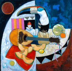 Pierrot & Toucan by Jack Morrocco available at www.creativeartsgallery.com Cubist Art, Higher Art, Hidden Beauty, Heart Beat, Color Of Life, In A Heartbeat, Division, Morocco, Still Life
