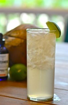 The Hemingway Hated Hawaii.  Ingredients:     4 oz. coconut water (found at most markets these days)     2 oz. dry gin     1 oz. fresh lime juice     1/2 oz. Cointreau or triple sec     2 dashes Angostura bitters     2 dashes Bittermens Tiki bitters (or a drop of Allspice dram)     Lime wedge, for garnish