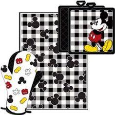 Disney-Mickey-Parts-3-Pc-Kitchen-Set-Towel-Pot-Holder-Mitt-NWT