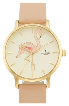 'metro' flamingo dial leather strap watch, 34mm   @giftryapp