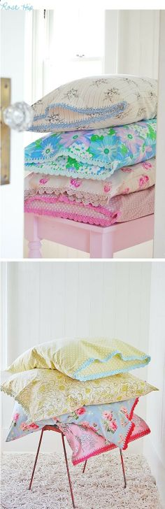 i so wanna do this to pretty pillow cases! Patchwork Quilt, Sewing Crafts, Diy Crafts, Ideias Diy, Sewing Pillows, Linen Pillows, Vintage Sheets, Sewing Projects For Beginners, Pillow Cases