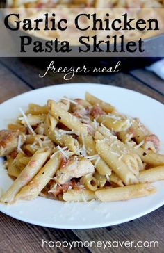 Your family is going to love my Garlic Chicken Pasta Recipe, my kids ask for it weekly! Easy to make, freezes great and you only have to dirty one skillet! | happymoneysaver.com Chicken Freezer Meals, Chicken Pasta Dishes, Easy Freezer Meals, Chicken Penne, Freezer Recipes, Chicken Piccata, Pasta Food, Freezer Cooking, Crockpot Meals