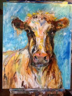 Modern and messy cow art  Http://passionsofanoddchick.blogspot.com