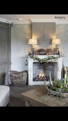 a charming and rustic room and fireplace Style At Home, Room Inspiration, Interior Inspiration, Decoration Shabby, Living Spaces, Living Room, Piece A Vivre, Home And Deco, Cool Ideas