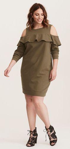 Plus Size Ruffled Knit Sweatshirt Dress - Plus Size Fashion for Women #plussize