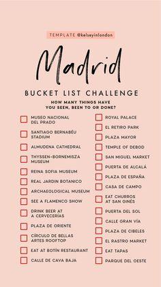 bucket list ideen Top Dinge, die man in Madrid unt - bucketlist Travel Checklist, Travel List, Travel Goals, Travel Hacks, Travel Guide, Madrid Travel, List Challenges, Reisen In Europa, Destination Voyage