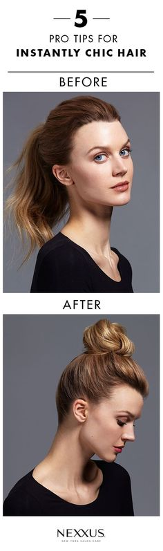 Guaranteed to instantly make your hair look more chic, these 5 easy pro tricks are the perfect combination of low effort and high impact. Add a barrette, try a brushless blowout, or embrace a pony perfected with Nexxus® Mousse Plus Volumizing Foam—quick solves like these easily work into any routine! Read on for more simple hair tips.