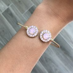 """ONE LEFT Pink Crystal Cuffs Gold Tone This cuffs come with pink stones with a gold finish. Zinc alloy metal. Opening is 2"""" stretch and inside diameter of 2.5"""" only the pastel pink color is left. The middle one  is sold. So you will receive the pink one. Jewelry Bracelets"""