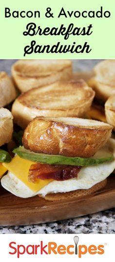 Bacon, Egg & Avocado Breakfast Sandwich. One of my faves to make for brunch!| via @SparkPeople #breakfast #brunch #recipe