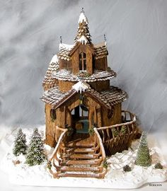Rustic gingerbread house.