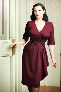 2e6cafe90e3 Collectif Clothing Edwina Faux Wrap Dress in Wine Red 100 20 18934 20161107  1W Faux Wrap