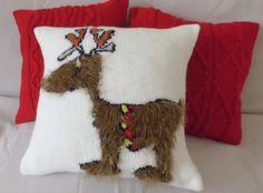 Custom reindeer pillow Christmas knit pillow by Adorablewares