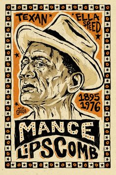 "MANCE LIPSCOMB Blues Poster - Digital 12"" X 18"" - blues folk art by Grego from mojohand.com on Etsy, $10.00"