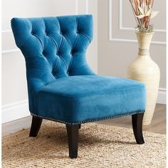 Abbyson Living Cole Fabric Chair in Petrol Blue