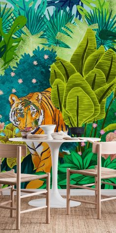 phone wall paper plain Jungle Tiger wall mural from happywall Tiger Wallpaper, Nature Wallpaper, Inside Playground, Jungle Bedroom, Tropical Bathroom, School Murals, Murals For Kids, Tiger Art, Paper Animals