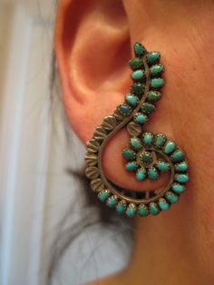 Vintage Zuni earrings - a remarkable pair that have been around a while - circa 1930