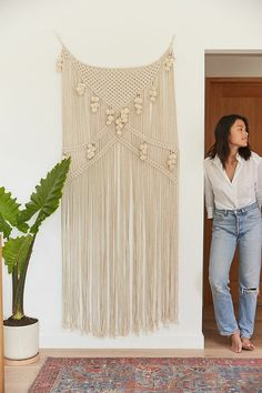 Gorgeous metallic macrame wall hanging is a perfect statement piece #shopthelook #ad #vintage #boho #UO #urbanoutfitters #uohome #homedecor #renters #shopstyle #modern #midcentury #inspo #minimalist #goals #futurehome #contemporary #traditional #macrame #walldecor #wallhanging #tapestry #rustic #casual #style #trend
